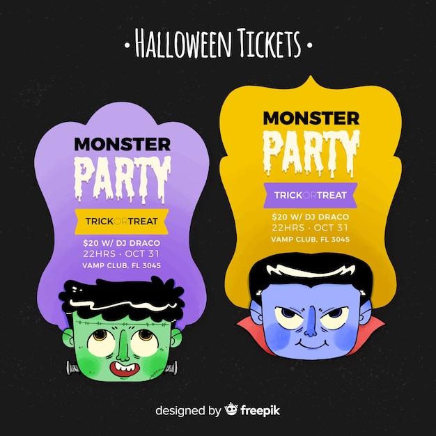 Szablon Biletu Na Halloween Z Głowami Darmowych Wektorów