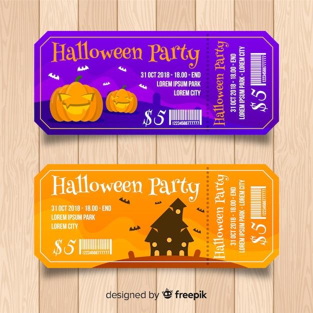 Szablon Biletu Na Halloween Darmowych Wektorów
