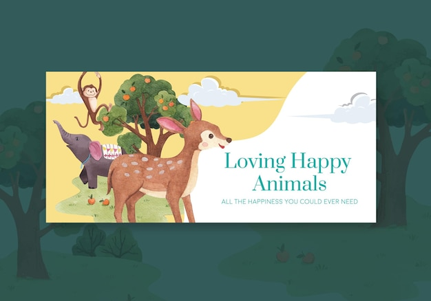 Szablon Billboardu Z Ilustracji Akwarela Koncepcja Szczęśliwych Zwierząt Premium Wektorów