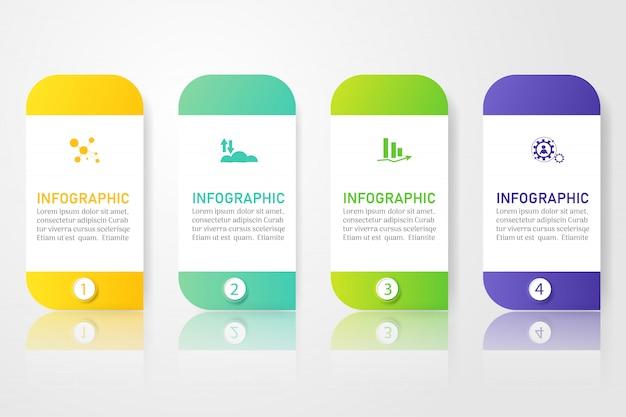 Szablon biznes 4 opcje lub kroki infographic element wykresu. Premium Wektorów