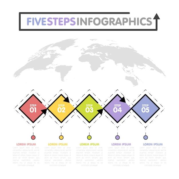 Szablon Biznes Infografiki. Oś Czasu Z 5 Krokami Rombu, Pięcioma Opcjami Liczbowymi. Mapa świata W Tle. Element Wektora Premium Wektorów
