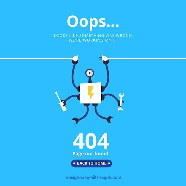 Szablon błędu flat 404 Darmowych Wektorów