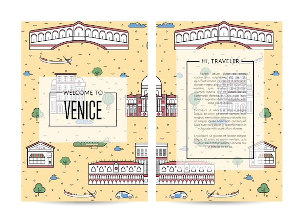 Szablon Broszura Podróżna Wenecja Zestaw W Stylu Liniowe Premium Wektorów