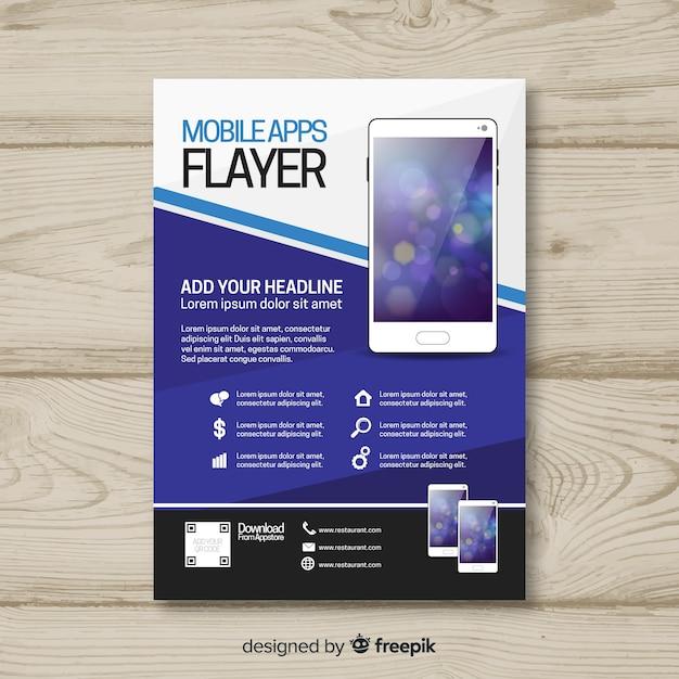 Szablon broszury aplikacji mobilnej Darmowych Wektorów