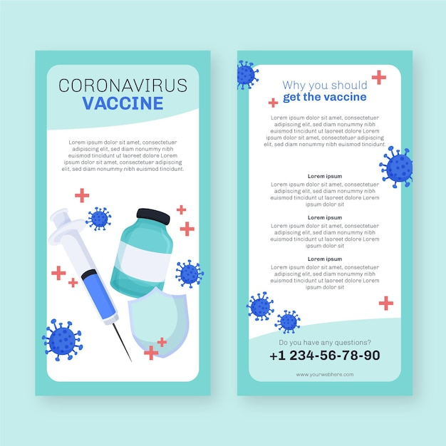 Szablon Broszury Informacyjnej O Szczepieniu Przeciwko Koronawirusowi Premium Wektorów
