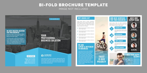 Szablon broszury korporacyjnej bi-fold Premium Wektorów