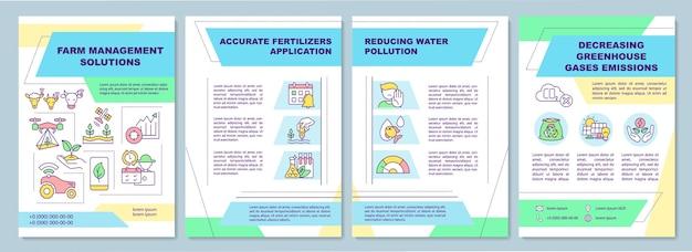 Szablon Broszury Rozwiązań Do Zarządzania Gospodarstwem Rolnym. Zmniejszenie Zanieczyszczenia Wody. Premium Wektorów