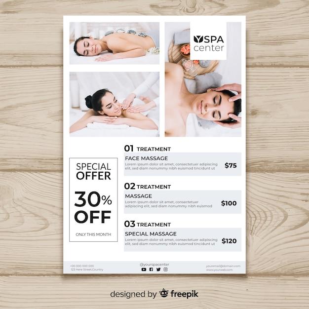Szablon broszury spa ze zdjęciem Darmowych Wektorów