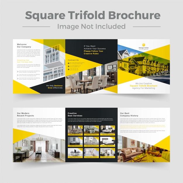 Szablon Budynku Trifold Broszura Nieruchomości Premium Wektorów