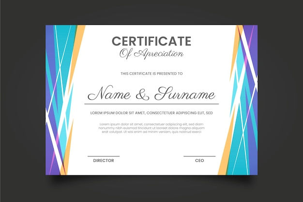 Szablon Certyfikatu Geometrycznego Darmowych Wektorów