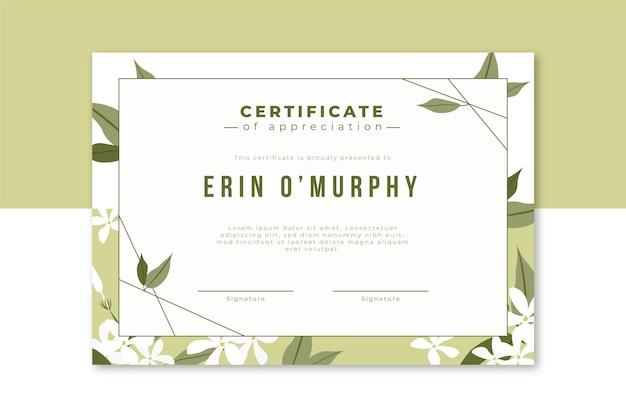 Szablon Certyfikatu Kwiatowy Darmowych Wektorów