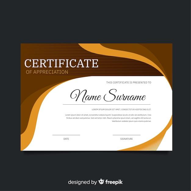 Szablon Certyfikatu Stylu Abstrakcyjnego Darmowych Wektorów