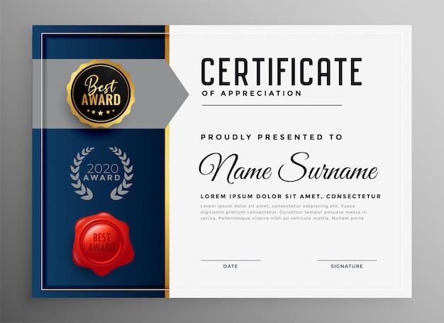 Szablon certyfikatu uznania dla firmy profesjonalnej Darmowych Wektorów