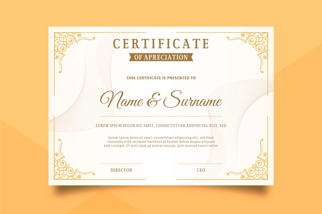 Szablon Certyfikatu W Eleganckim Stylu Premium Wektorów