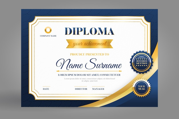 Szablon Certyfikatu W Kolorze Niebieskim I Złotym Darmowych Wektorów