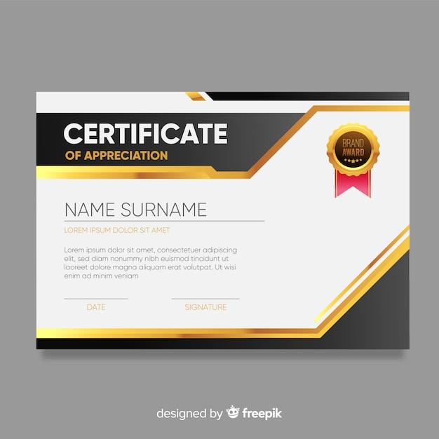 Szablon certyfikatu w nowoczesnym designie Darmowych Wektorów