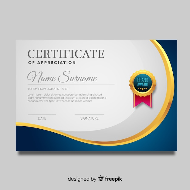 Szablon certyfikatu w nowoczesnym stylu Darmowych Wektorów