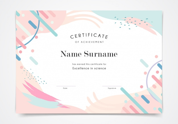 Szablon Certyfikatu W Stylu Memphis W Kolorze Pastelowym Premium Wektorów