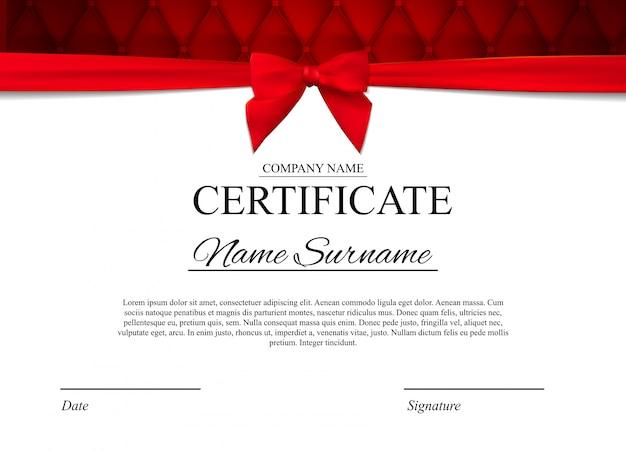 Szablon certyfikatu z czerwoną kokardą Premium Wektorów