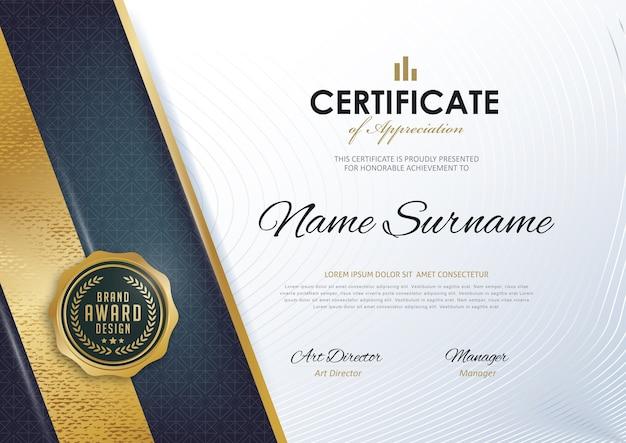 Szablon Certyfikatu Z Czystym I Nowoczesnym Wzorem, Premium Wektorów