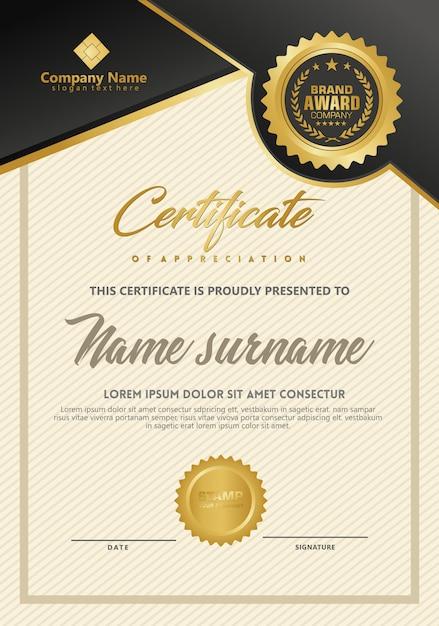 Szablon certyfikatu z luksusową i elegancką teksturą Premium Wektorów