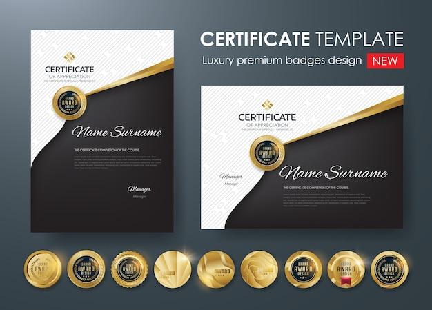 Szablon Certyfikatu Z Luksusowym Wzorem Premium Wektorów