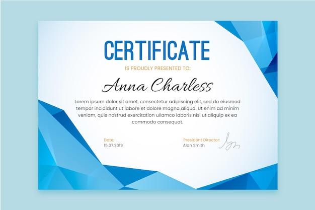 Szablon Certyfikatu Z Niebieskimi Geometrycznymi Kształtami Darmowych Wektorów
