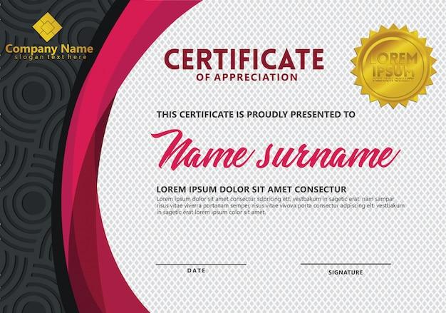 Szablon certyfikatu z wzorem tekstury na imprezy sportowe Premium Wektorów