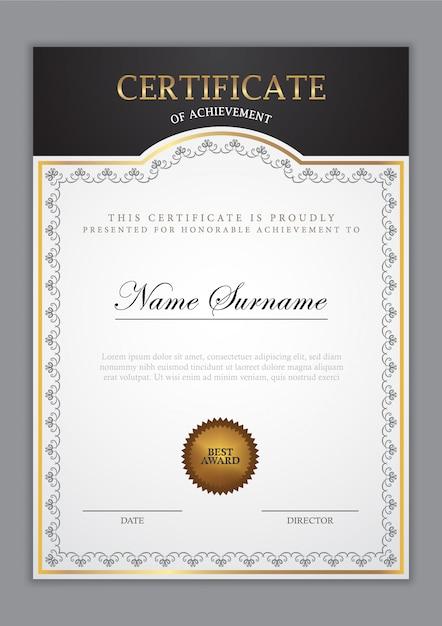 Szablon certyfikatu ze złotym elementem i nowoczesnym wzornictwem, dyplom Premium Wektorów