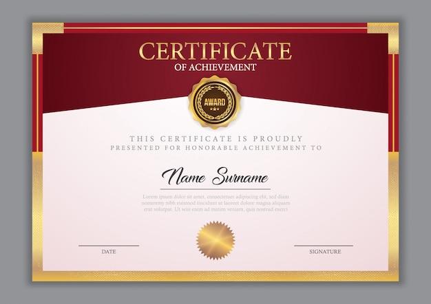 Szablon certyfikatu ze złotym elementem Premium Wektorów