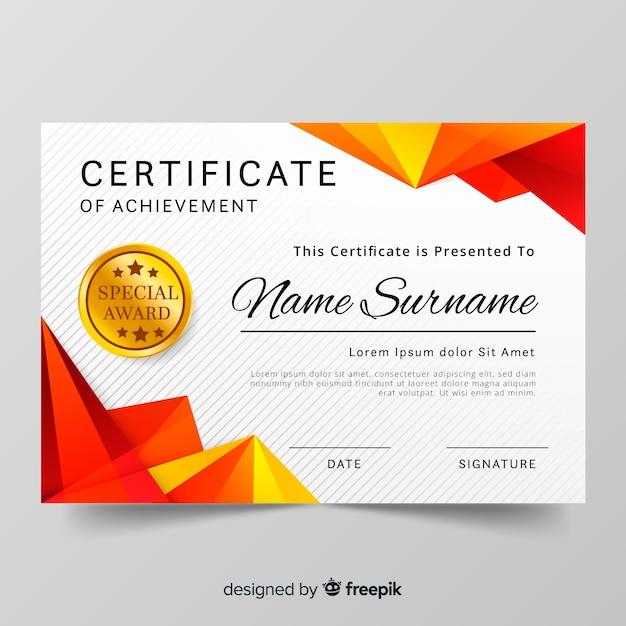 Szablon certyfikatu Darmowych Wektorów