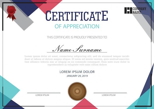 Szablon certyfikatu Premium Wektorów