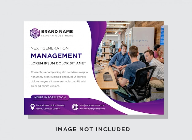 Szablon Curve Purple Banner, Pozioma Ulotka Do Wyświetlania Reklam. Premium Wektorów