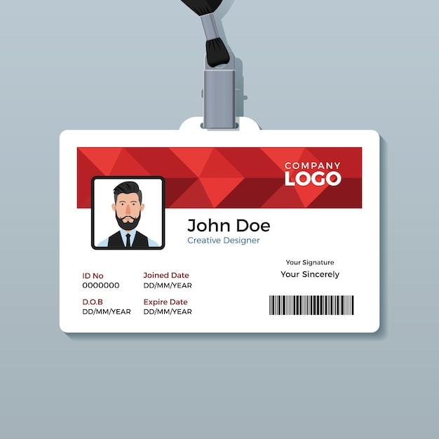 Szablon czerwony identyfikator wieloboka Premium Wektorów