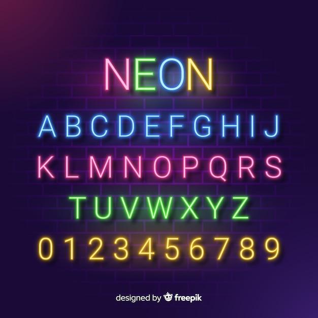 Szablon Dekoracyjny Neon Alfabet Stytle Wektor Darmowe
