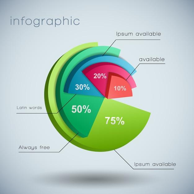 Szablon Diagramu Biznesowego 3d Z Polami Tekstowymi I Oznaczony Różnymi Kolorami Wykresu Darmowych Wektorów