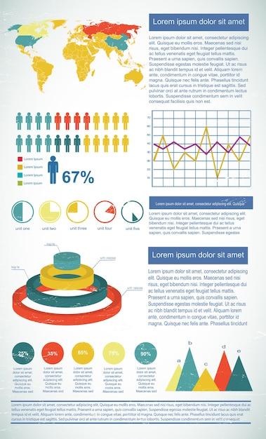 Szablon Diagramu Biznesowego Do Prezentacji Z Polami Tekstowymi Z Różnymi Typami Wykresów Darmowych Wektorów