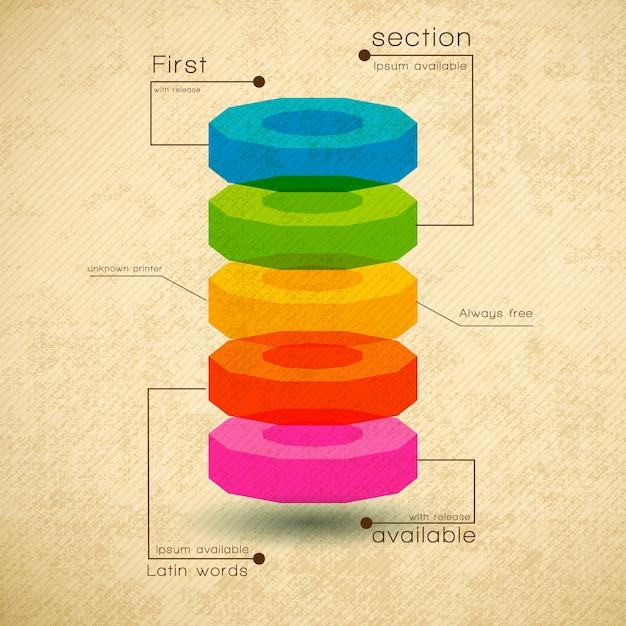 Szablon Diagramu Biznesowego Z Płaskimi Polami Tekstowymi I Sekcjami Darmowych Wektorów