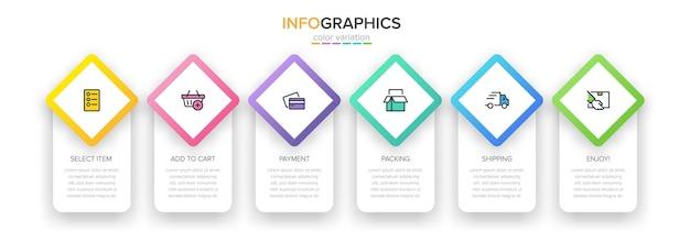 Szablon Do Zakupów Infografiki Z Opcjami Lub Krokami Premium Wektorów