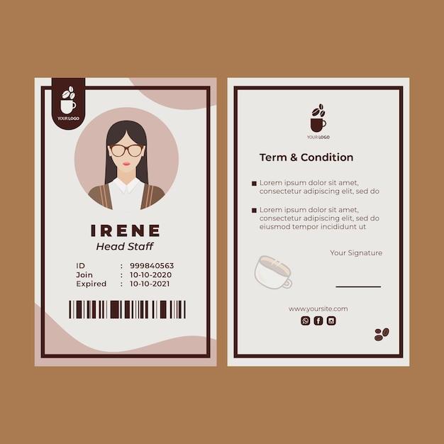 Szablon Dowodu Tożsamości Dla Kawiarni Darmowych Wektorów