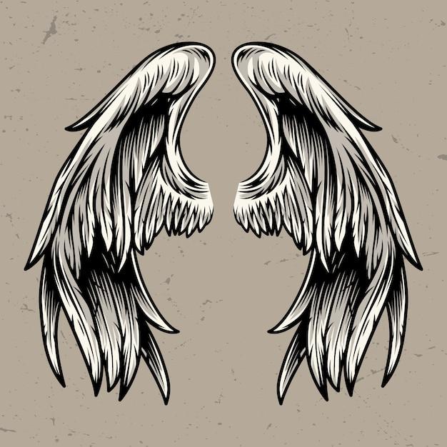 Szablon Dwa Skrzydła Anioła Darmowych Wektorów