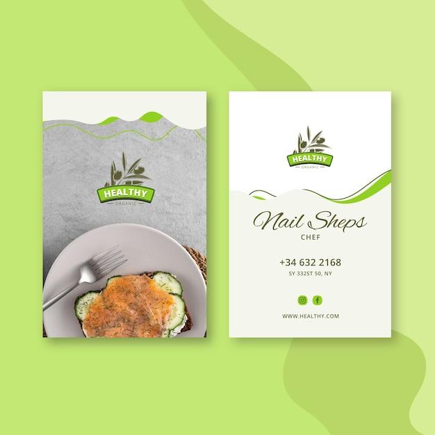 Szablon Dwustronnej Wizytówki Pionowej Restauracji Zdrowej żywności Premium Wektorów