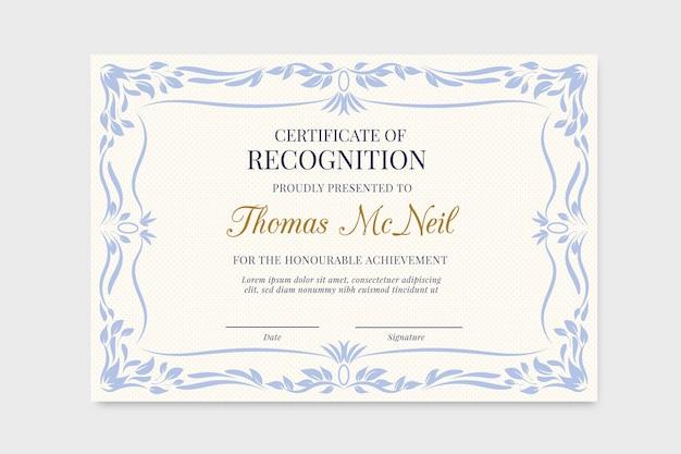 Szablon Dyplomu Uniwersyteckiego Z Niebieską Ramką W Kwiaty Premium Wektorów