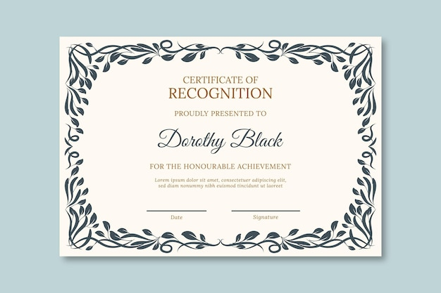 Szablon Dyplomu Uniwersytetu Z Czarną Ramką Premium Wektorów