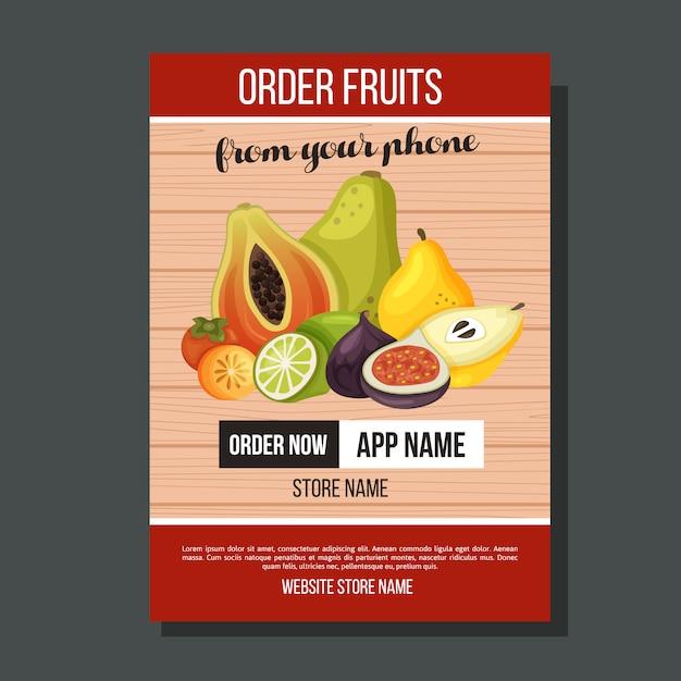 Szablon Egzotycznej Ulotki Owoców Premium Wektorów