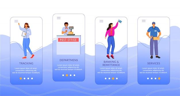 Szablon Ekranu Aplikacji Mobilnej Na Poczcie. śledzenie, Usługi, Bankowość I Przekazy Pieniężne. Przewodnik Po Witrynie Z Postaciami. Koncepcja Interfejsu Kreskówki Smartfona Ux, Ui, Gui Premium Wektorów