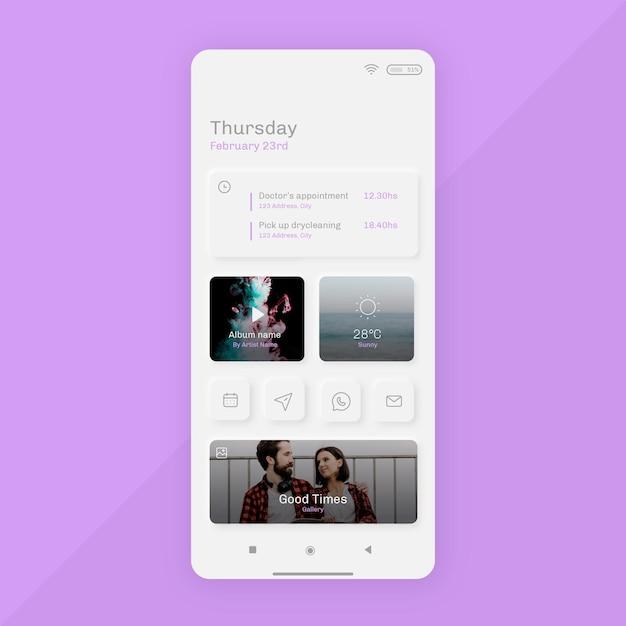 Szablon Ekranu Głównego Neumorph Dla Smartfona Darmowych Wektorów