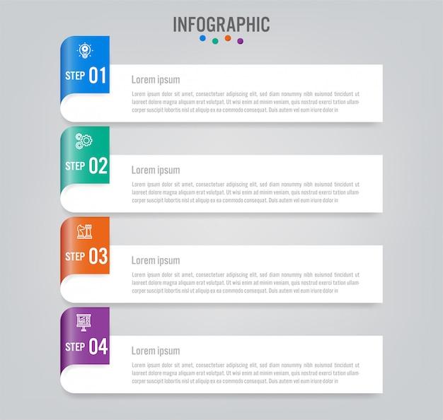 Szablon Etykiety Biznes Infographic Z Opcjami. Premium Wektorów