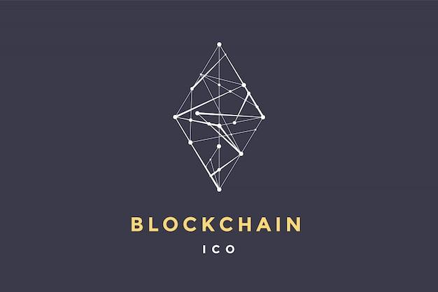 Szablon Etykiety Dla Technologii Blockchain. Romb Z Połączonymi Liniami Dla Marki, Etykiety, Logotypu Symbolu Bloku Inteligentnego Kontraktu. Dla Transakcji Zdecentralizowanych. Ilustracja Premium Wektorów