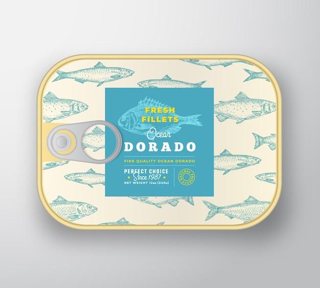 Szablon Etykiety Ryb W Puszkach. Premium Wektorów